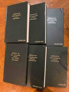 American Air Mail Catalogue Vol 1-5 + Pricing Supplement, Stamp Philately Book