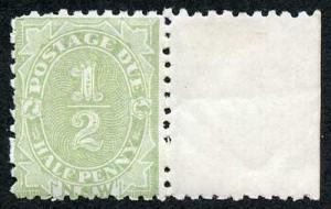 NSW SGD1 1891 1/2d Post Due Perf 10 U/M marginal