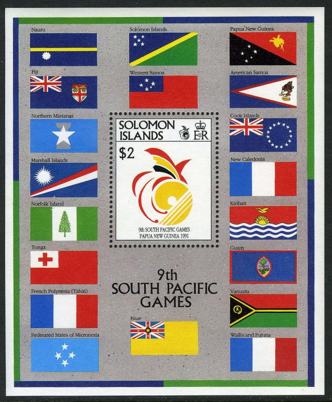 Solomon Islands 698 S/S,MI Bl.29,MNH. 8th South Pacific Games.Emblem,Flags, 1991