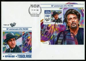 TOGO 2020  85h ANNIVERSARY  OF AL PACINO SOUVENIR SHEET FIRST DAY COVER