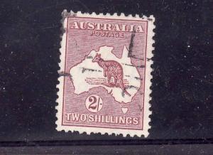 D2-Australia-Sc#99-used-2sh red brn Kangaroo-1929-30-