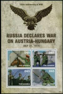 Gambia 2014 MNH WWI WW1 Russia War Austria-Hungary 4v M/S Military Stamps