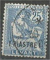 FRANCE, Offices in TURKEY, 1903, used 1pi on 25c bl, Scott 34