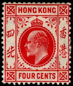 HONG KONG SG93, 4c carmine-red, M MINT. Cat £21.
