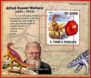 A3197- SAO TOME & PRINCIPE, ERROR MISSPERF: 2009 A. Wallace, Dinosaurs, Minerals