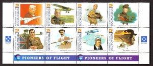MICRONESIA 1993 PIONEERS OF FLIGHT Set in Se-tenant Block Sc 155 MNH