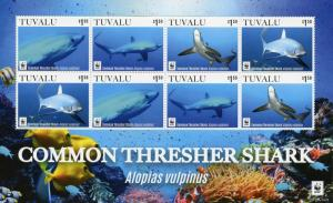 Tuvalu Sharks Stamps 2016 MNH Common Thresher Shark WWF Marine Fish 8v M/S