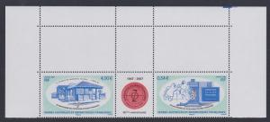 FSAT TAAF 60th Anniversary Top Strip with margins SG#576-577 CV£10+