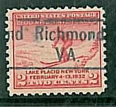 USA - OLYMPIC GAMES 1932 LAKE PLACID - pre-stamped 2 CENT - RICHMOND, VA #1
