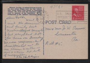 Memory Gardens FL 1954 Picture Postcard Vintage Color Postal Card with 2c Stamp