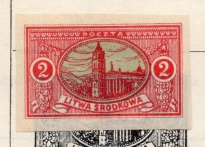 Lithuania (Central) 1921 Early Issue Fine Mint Hinged 2m. Imperf 074657