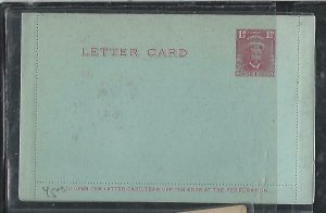 SOUTHERN RHODESIA (PP2708B)  KGV ADMIRAL 1 1/2D LETTER CARD  UNUSED