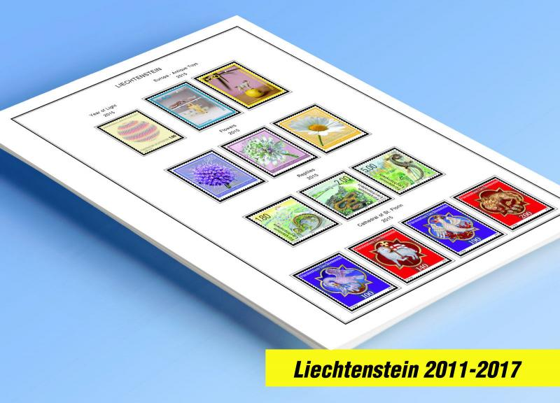 COLOR PRINTED LIECHTENSTEIN 2011-2017 STAMP ALBUM PAGES (47 illustrated pages)