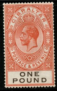 GIBRALTAR SG107 1927 £1 RED-ORANGE & BLACK MTD MINT