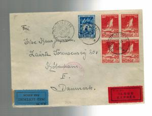1941  Hell Trondheim Norway Internment Camp Express Mail Cover to Denmark