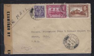 ST LUCIA (P1609B) 1945  KGVI  6D+1/-+1D CENSOR A/M TO USA