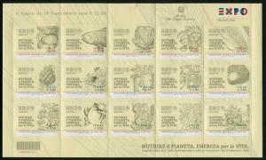 HERRICKSTAMP NEW ISSUES ITALY Sc.# 3320 Milan 2015 Agriculture Sheetlet