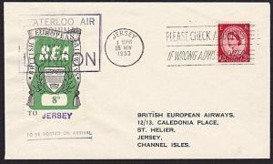 GB 1953 BEA 8d airmail stamp on flown cover London to Jersey................8995