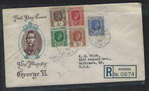 LEEWARD ISLANDS (P2808BB)1938 KGVI  1/2D-2 1/2 FDC FROM BARBUDS, 1/2D LEEW SHIFT