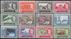 MALAYA SELANGOR SG116/27 1957-61 DEFINITIVE SET MTD MINT