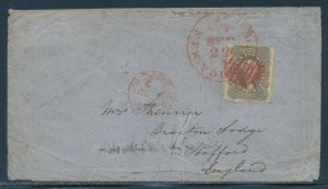 #37 ON COVER FROM NEW YORK TO ENGLAND WITH RED CANCEL CV $1,065 HV341