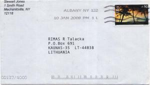 Airmail Issues 90c Hagatna Bay Guam 2008 Albany, NY 122 Airmail to Kaunas, L...