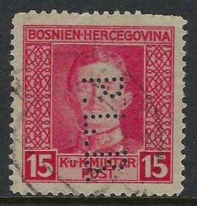 BOSNIA Scott 110, 15 heller, Perfin Pattern A16-PLB: Banque Privilegiee du Pays
