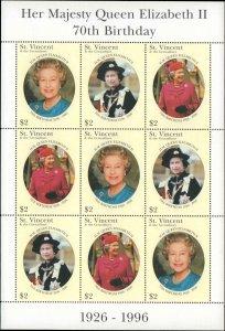 St. Vincent #2284, Complete Set, Sheet of 9, 1996, Royalty, Never Hinged