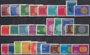Thematic lot stamp Europa CEPT 12 sets + 2 individual values 1970 MNH WS184618