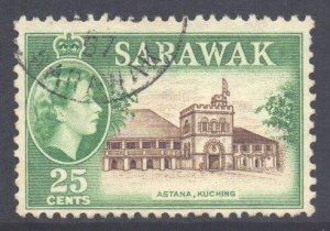 Sarawak Scott 206 - SG197, 1955 Elizabeth II 25c used
