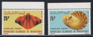 Mauritania # 297-298, Fossil Shells, NH, 1/2 Cat.