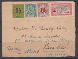 Anjouan 23, Comoro Islands 4 & 21 plus Madagascar B1 forwarded cover, 1920