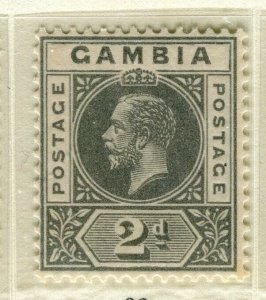 GAMBIA; 1921 early GV issue fine Mint hinged 2d. value