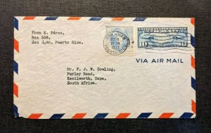 1937 San Juan Puerto Rico Airmail Cover to Kenilworth Cape South Africa