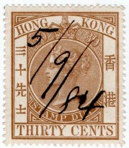 (I.B) Hong Kong Revenue : Stamp Duty 30c
