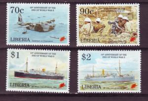 J51 jl,s stamps 1995 mnh liberia set/4 50 yrs end wwii anniv
