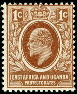 EAST AFRICA and UGANDA SG34, 1c brown, VLH MINT.