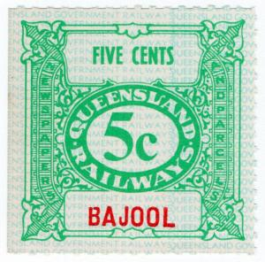 (I.B) Australia - Queensland Railways : Parcel Stamp 5c (Bajool)
