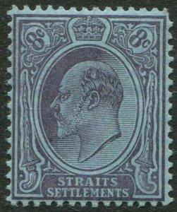 STRAITS SETTLEMENTS-1905 8c Purple/Blue Sg 131 blunt corner Sg 131 MM V50184