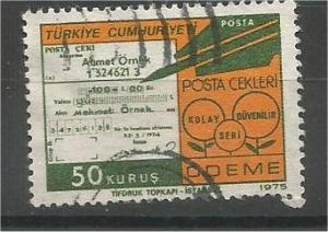 TURKEY, 1975, used 50k, Postal Check Scott 1998