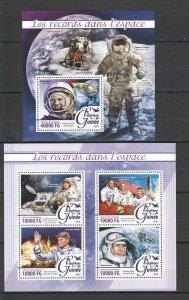 ST064 2016 Guinea Space Achievements Records Gagarin Leonov 1KB+1BL MNH
