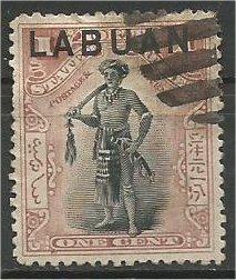 LABUAN, 1894, used 1c, Chieftain  Scott 49