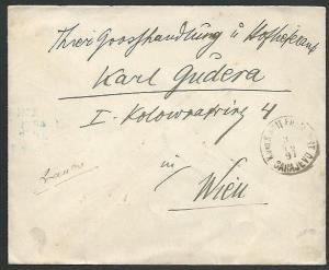 AUSTRIA BOSNIA 1897 Field Post Office cover SARAJEVO to Vienna.............59328
