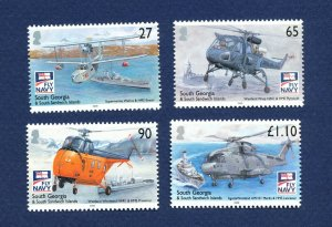 SOUTH GEORGIA - # 376-379; SG 463/6 - MNH - Royal Navy ship, helicopter, 2009