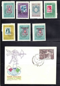 POLAND 5 PAGES SOUND COLLECTION LOT x21 SOME NEVER HINGED + COVERS SHEETS