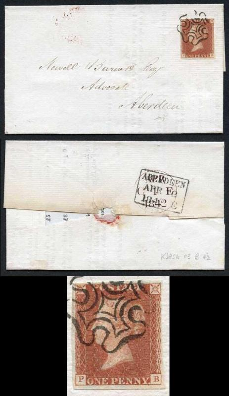 1841 Penny Red (PB) Plate 20 SUPERB Four Margins on Cover