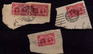 Rhodesia - British South Africa Company Stamps on pieces - Crisp cancellations