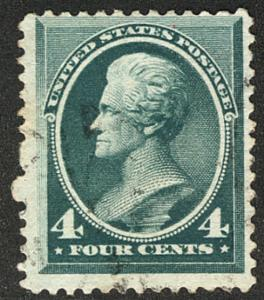 US #211 F/VF used, nice large margins,  barely canceled,  fresh color and sel...