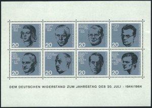 Germany 883-890a sheet,MNH. Resistance to Nazis,1964.Ludwig Beck,Bonhoeffer,Delp