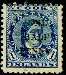 COOK ISLANDS SG21, ½d on 1d blue, M MINT. Cat £32.